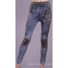 Sem costura senhoras imprimir Leggings jornal Blue Jean Leggings