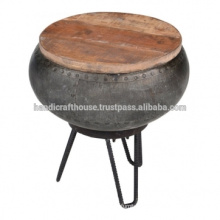 Industrial Round Metal and wood top with storage Side Table