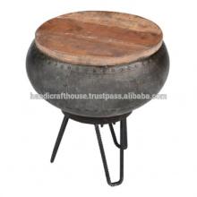 Industrial Round topo de metal e madeira com armazenamento Side Table