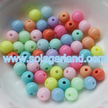 6-30MM Opaque Solid perles acrylique lâche Spacer Beads Charms