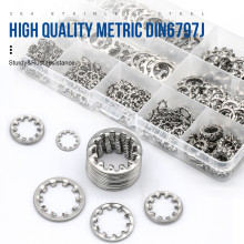 DIN6797J Stainless Steel Bearing Internal Tooth Lock Washer Assortment Kit M3 M4 M5 M6 M8 M10 Toothed Star Lock Washer