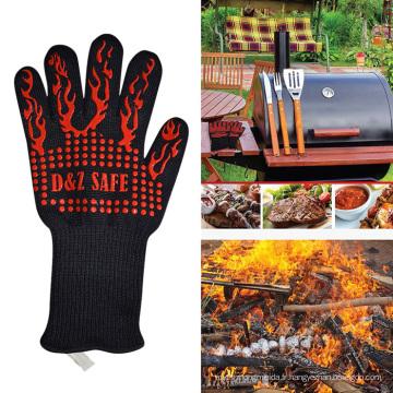 Gants chauds de cuisson de BBQ de manipulateur de surface chaude de silicone de coupe chaude de preuve de la chaleur 932F