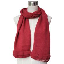 Lady Fashion Wolle Acryl gestrickter Schal mit Rüschenbesatz (YKY4377)