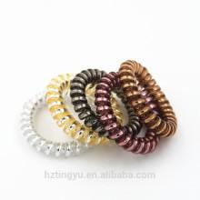 Cordones de cabeza de cable de teléfono elástico Cuerdas para el pelo Cuerda de cola de caballo de color amarillo Sostenedor del anillo de pelo hairband