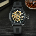 decorate your own black colour skeleton mechanical wrist watch