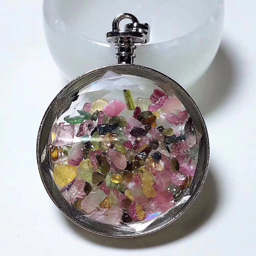 Tourmaline Chips Pocket Watch Shape Pendant Wishing Bottle Necklace
