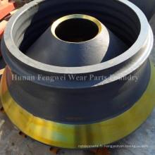 Pièces de rechange de concasseur à cône de manganèse à prix compétitif de haute qualité