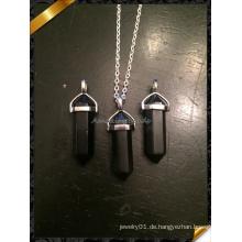 Silber Kette Schwarz Oynx Point Anhänger Mode Halskette (FN073)