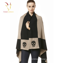 Двойные слои кашемировые шали и обертывания зима женский вязаный пончо