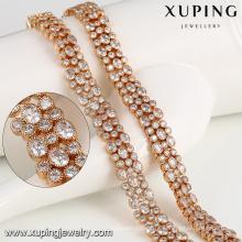 43318 xuping alta qualidade colar de correntes de ouro nobre pesado moda jóias moldes para venda pavimentar gem CZ Sintético