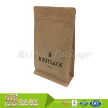 Custom Printed Food Grade Packaging Resealable Zipper Standing Up Side Gusset Kraft Paper Square Bottom Bag