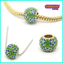 Encantos de perlas de joyería de pulsera de diapositiva de aleación hecha a mano de moda