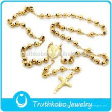 Collar de perlas de acero inoxidable católico 316 Rosario 8mm hecho a mano en Italia Nuevo