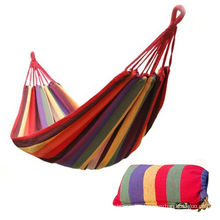 Double Portable Camping Hammock Multi-color Cotton Polyester