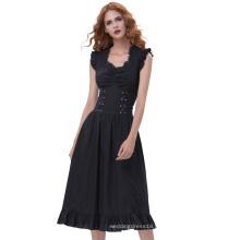 Belle Poque Robe victorienne sans manches V-Neck en coton Retro Vintage Gothic victorienne BP000364-1
