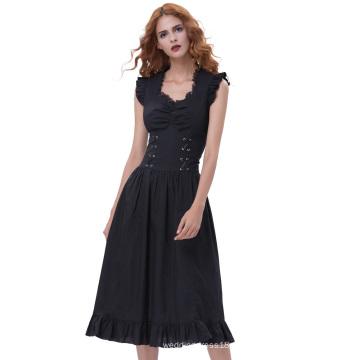 Belle Poque señoras sin mangas con cuello en V de algodón Retro Vintage negro Gothic Victorian vestido BP000364-1