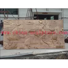 Hotel de cobre Decoração / Escultura Wall Relief