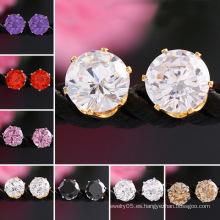 Pendientes para mujer 18k oro piedras preciosas joyas de cristal CZ Stud Earrings