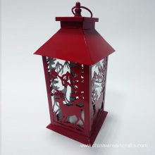 Metal Hurricane Lantern With Red Deer