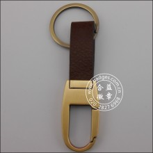 Leather Keychain with Gold Plated Metal Keyring (GZHY-KA-014)