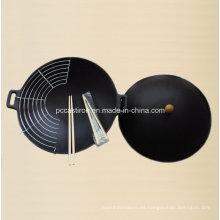 Wok de Hierro Fundido Preseasoned con Diámetro de Cubierta 25cm
