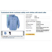 Customized denim workwear safety work clothes with stand collar