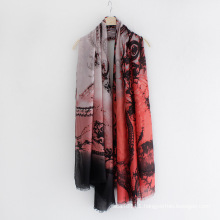 Fashion Paisley Printed Cotton Viscose Silk Women Scarf (YKY1154)