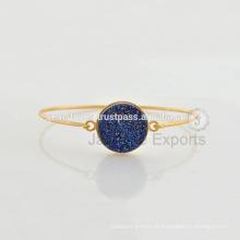Natural de boa qualidade Conjunto de moldura de prata em forma de ouro bracelete de vermeil