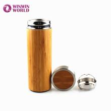 BPA Free a prueba de fugas aislamiento doble pared Vacuum té de bambú infuser vaso botella Copa