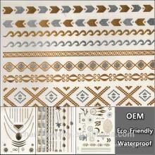 OEM Silber & Gold Tattoos Temporäre Tattoo Halskette für Frau Schönheit Metall Textur künstliche Haut Tattoo Aufkleber CJ007