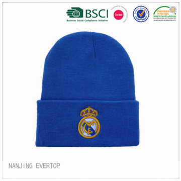 Royal Blue Embroidery Football Fan Beanie
