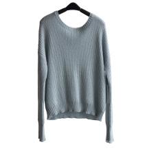 Дамы круглый шею чистого цвета пуловер трикотажные свитера