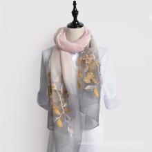 Mejor venta de gradiente de la moda rampa de diseño de las mujeres chal bordado bufanda de seda turca venta al por mayor de porcelana