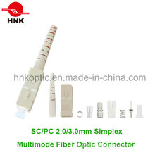 Sc PC 3.0mm Simplex Multimode Fiber Optic Connector