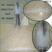 HHV12 2011 Wholesale New two Layers Tuller Few Beautiful Lace Edged Real Sample Simple Bride Wedding Veil