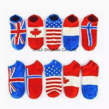 Custom Fashion Design National Flag Colorful Cotton Ankle Socks