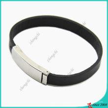 Fecho de aço inoxidável pulseira de couro genuíno (lb)
