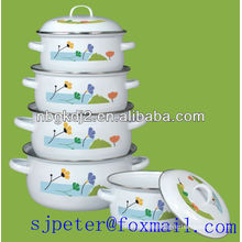 5pcs enamel casserole set with flower decal and metal lid