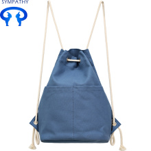 Custom drawstring pure color canvas bag simple double shoulder bag