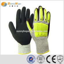 Sunnyhope 13gauge HPPE nitrile sandy TPR impact industrial gloves