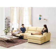 Sofá reclinável elétrico do sofá do couro do chaise de couro genuíno (875)