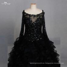 LZF004 vestido negro de manga larga de organza de lentejuelas vestidos de noche 2017