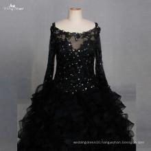 LZF004 Black Dress Long Sleeved Organza Sequin Evening Dresses 2017