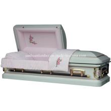 Caixão de Metal antigo de rosa branca (18G #501)