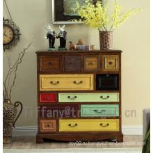 Livingroom furniture Drawer Antique birch Wood Cabinet for Home Decoration