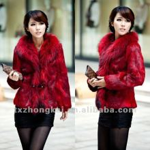 fashion design Raccoon Dog Collar Rabbit Fur Coats Jacket/rabbit fur jacket with fox fur collar