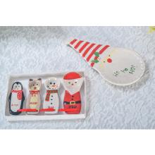 Placas decorativas do Natal cerâmico feito sob encomenda maioria da bandeja do serviço de alimento
