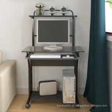 Mesa de computador móvel de escritório em casa com mesa de vidro