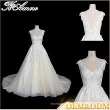 Tiamero marque personnalisée style noble blanc cassé manches courtes manche une robe de mariage mariée en ligne avec une fleur enroulée en dentelle