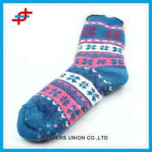 2016 new style winter indoor socks of flower pattern for young girls,warm thick and soft